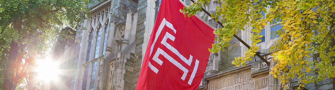 Temple flag above Sullivan Hall with sun shining through trees.