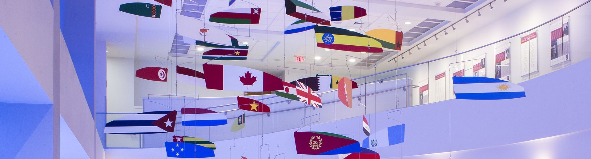 International Flags hanging in Alter Hall